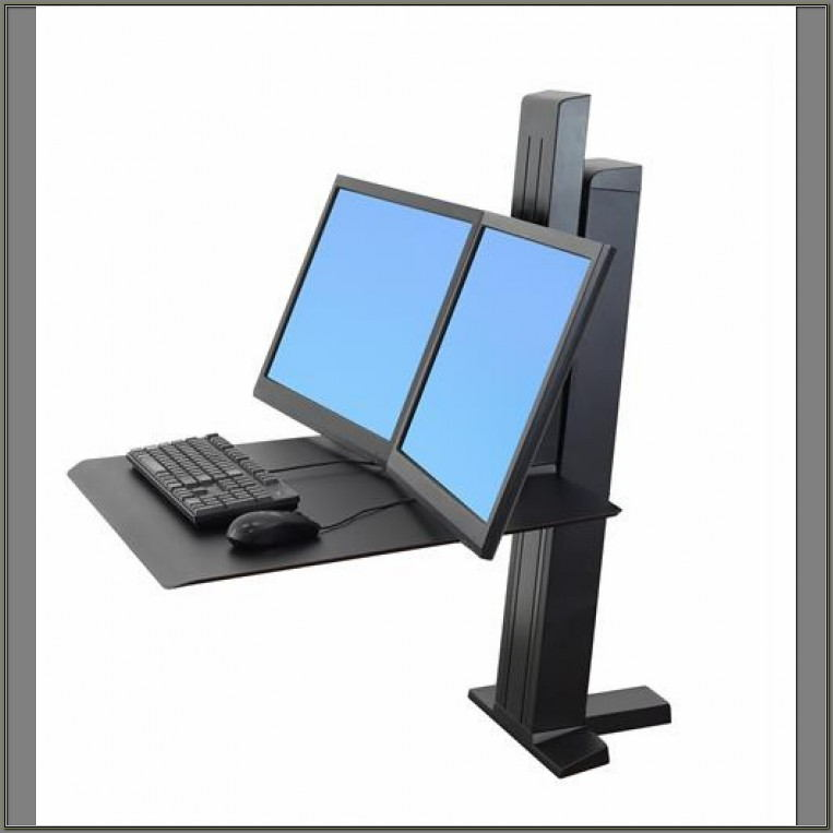 Ergotron Sit Stand Desk Dual Monitor