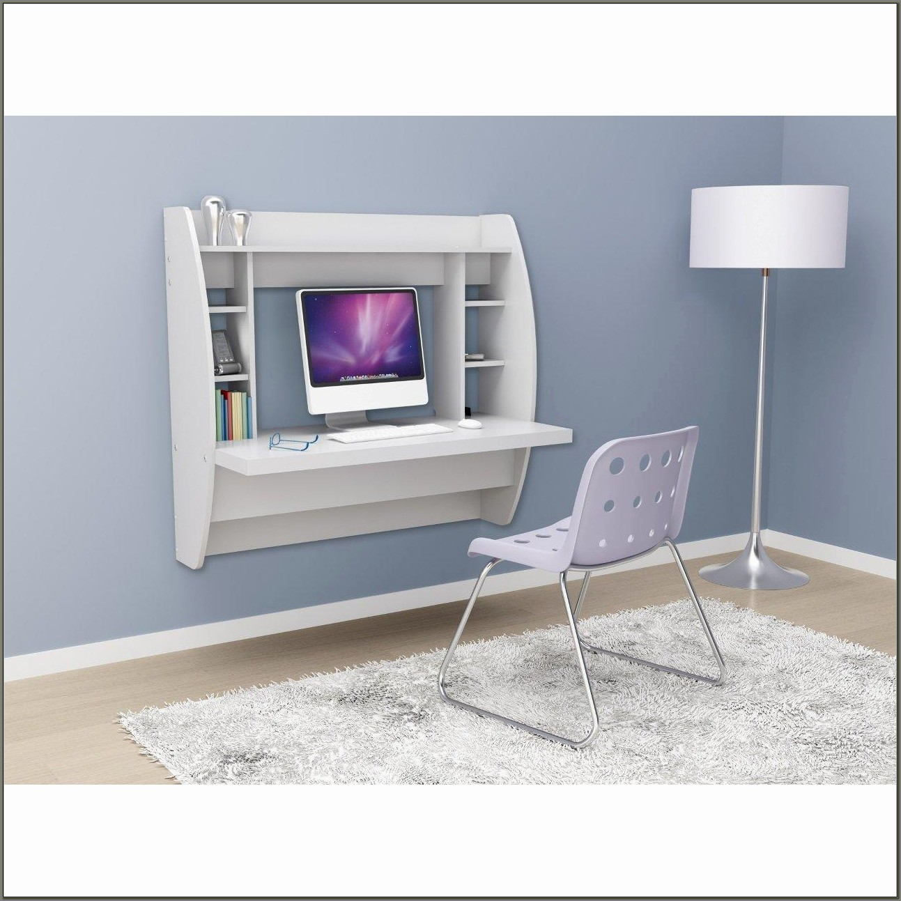 Floating Desk With Storage White Prepac