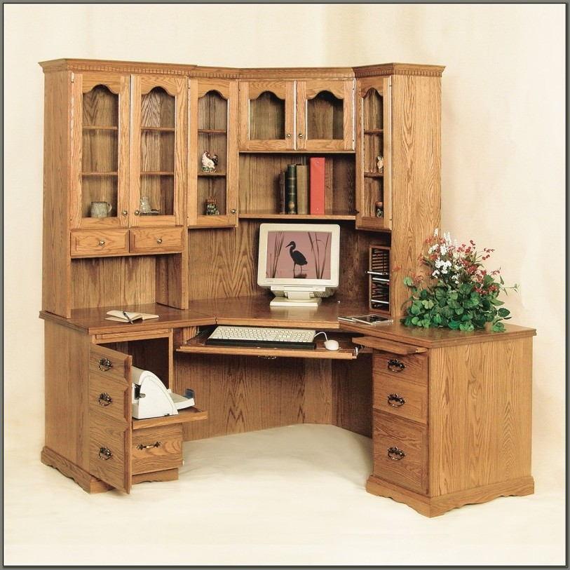 Fraser Corner Desk With Hutch Oak