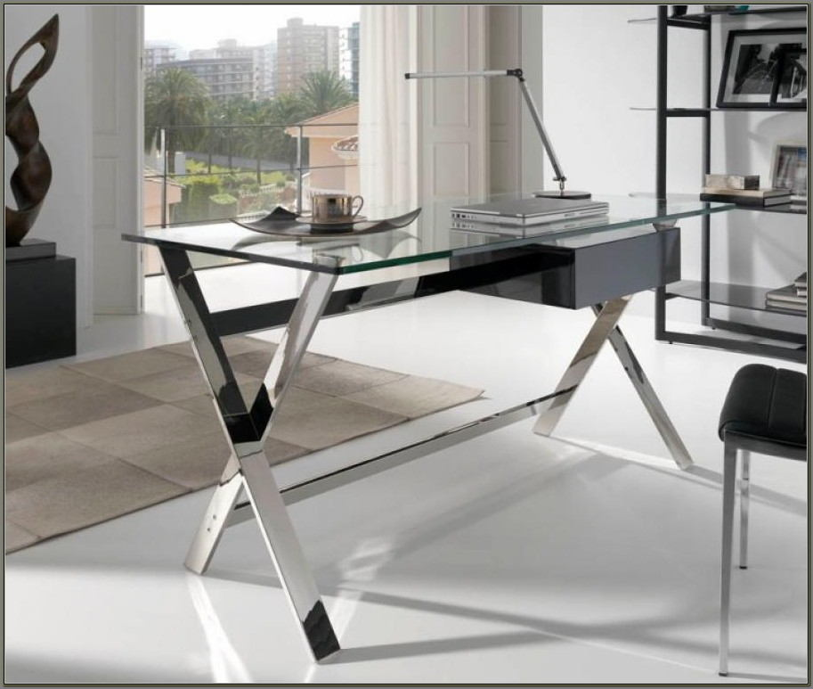 Glass And Chrome Desks