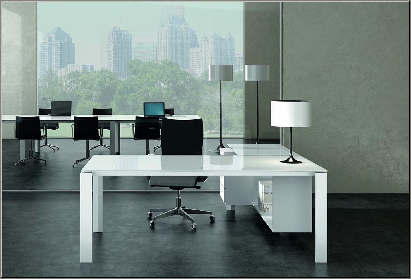 Glass Top Executive Office Desk