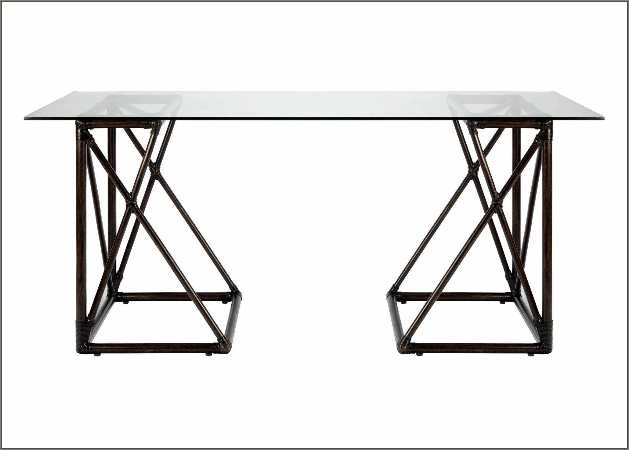 Glass Top Trestle Desk