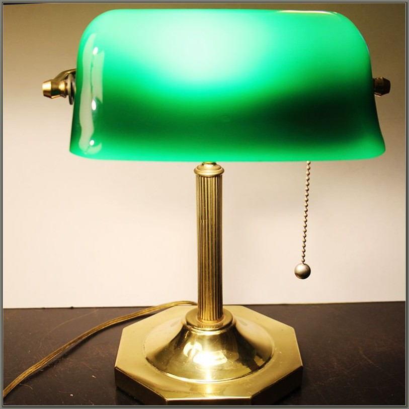 Green Glass Shade Desk Lamp