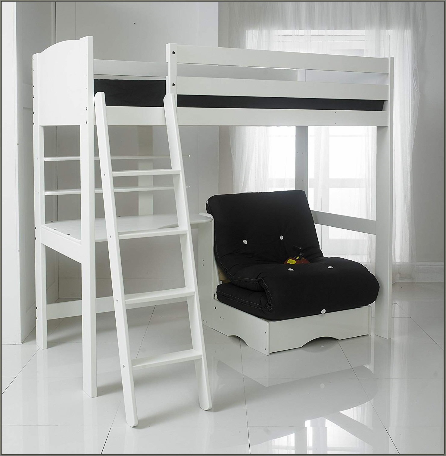 High Bed With Desk And Futon