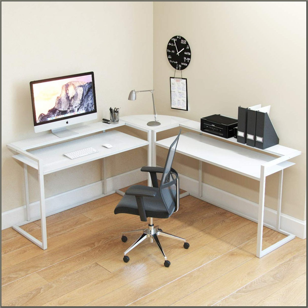 L Shaped White Computer Desk