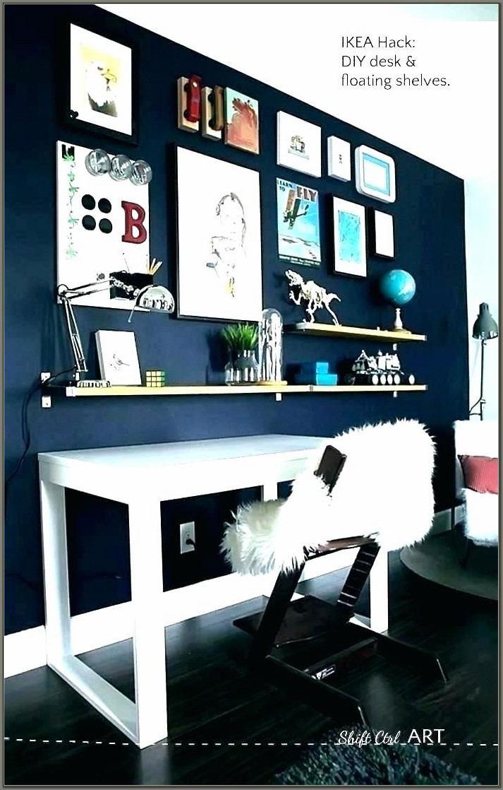 Leaning Wall Shelf With Desktop
