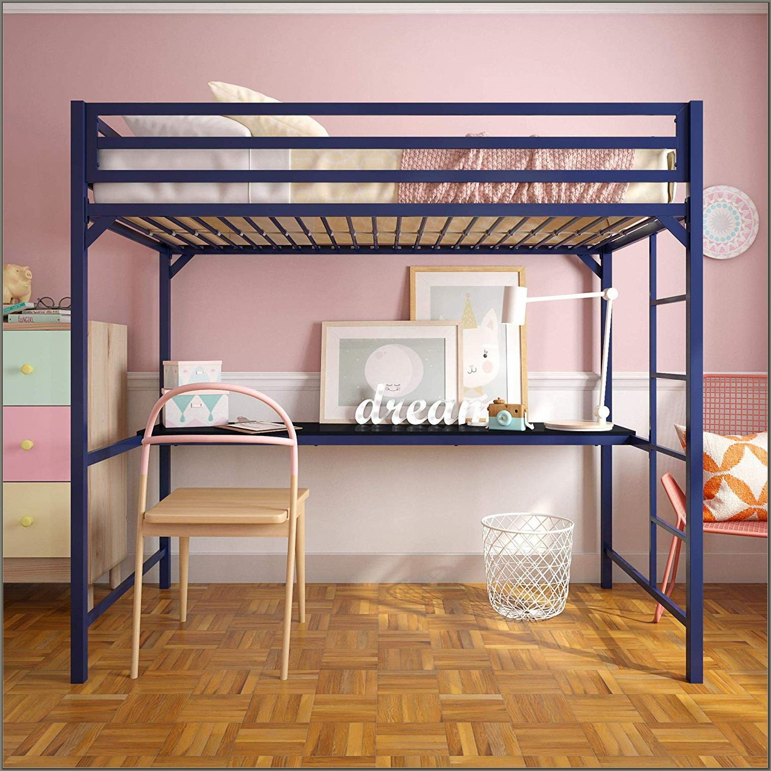 Metal Twin Loft Bed With Desk
