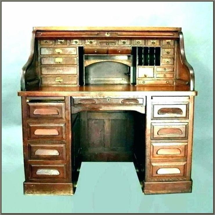 Oak Roll Top Computer Desk For Sale