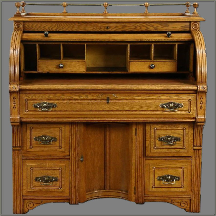 Oak Roll Top Secretary Desk