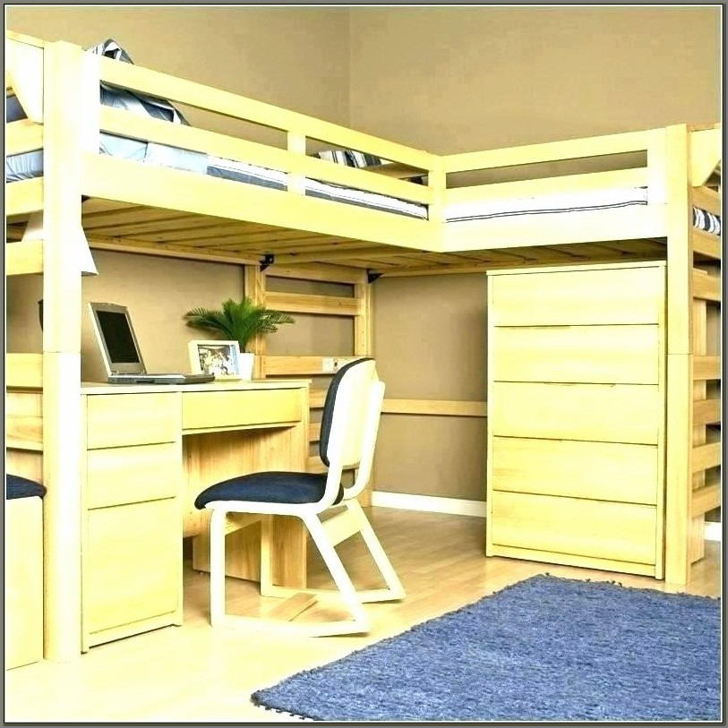 Queen Size Queen Bunk Bed With Desk