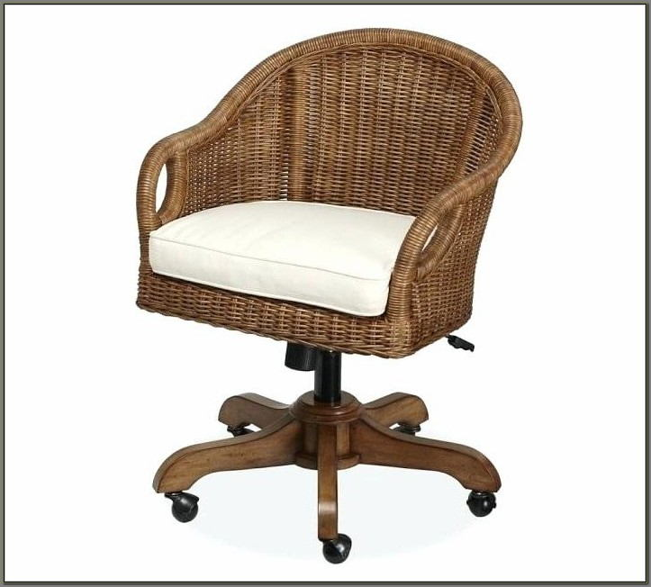 Rattan Swivel Desk Chair