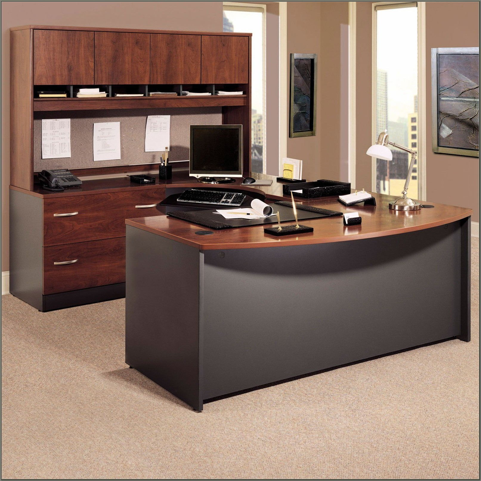 Realspace Broadstreet Contoured U Shaped Desk Dimensions