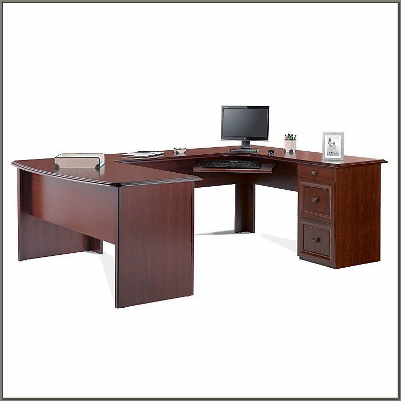 Realspace Broadstreet U Shaped Executive Desk Cherry