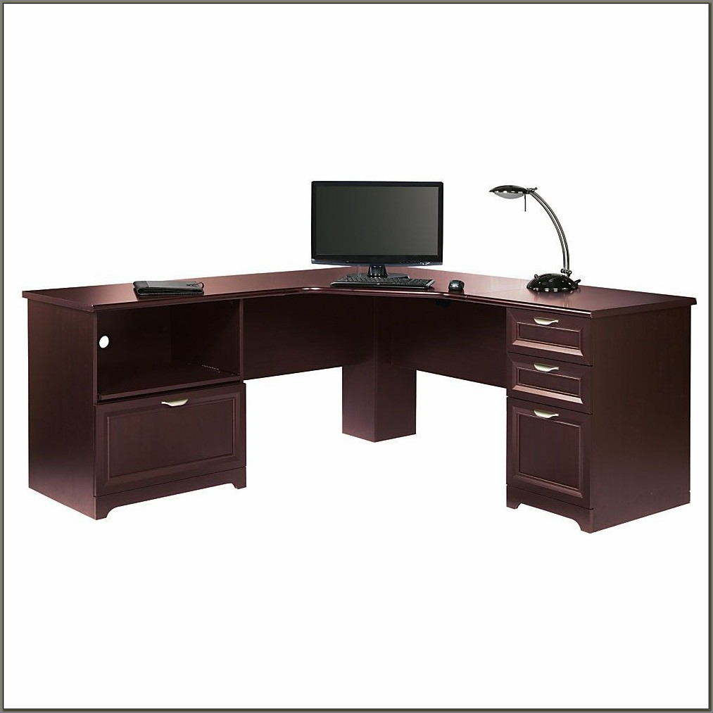 Realspace Magellan L Shaped Desk Cherry