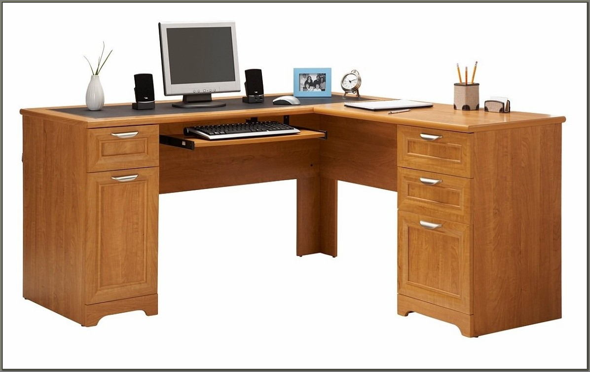 Realspace Magellan L Shaped Desk Honey Maple