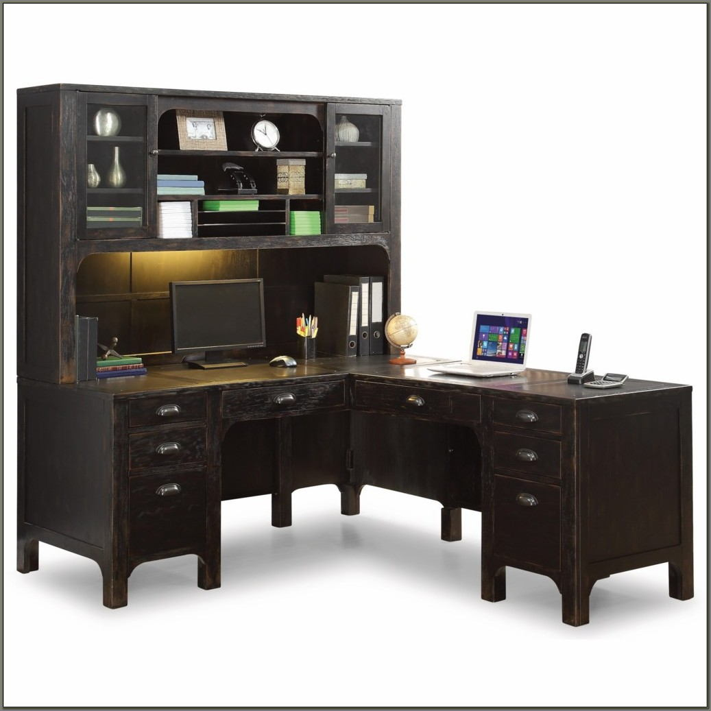 Rustic L Shaped Desk With Hutch