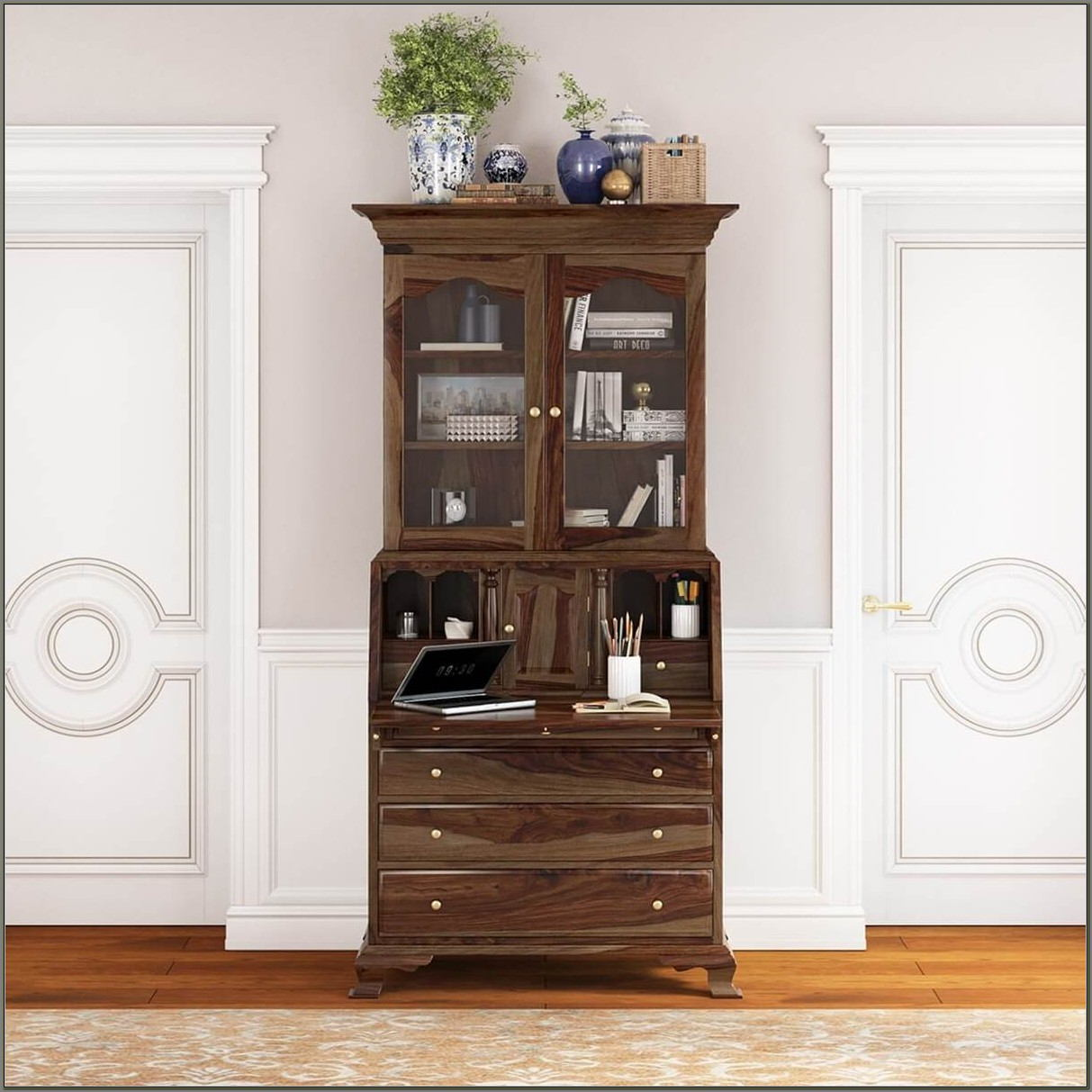 Solid Wood Secretary Desk With Hutch