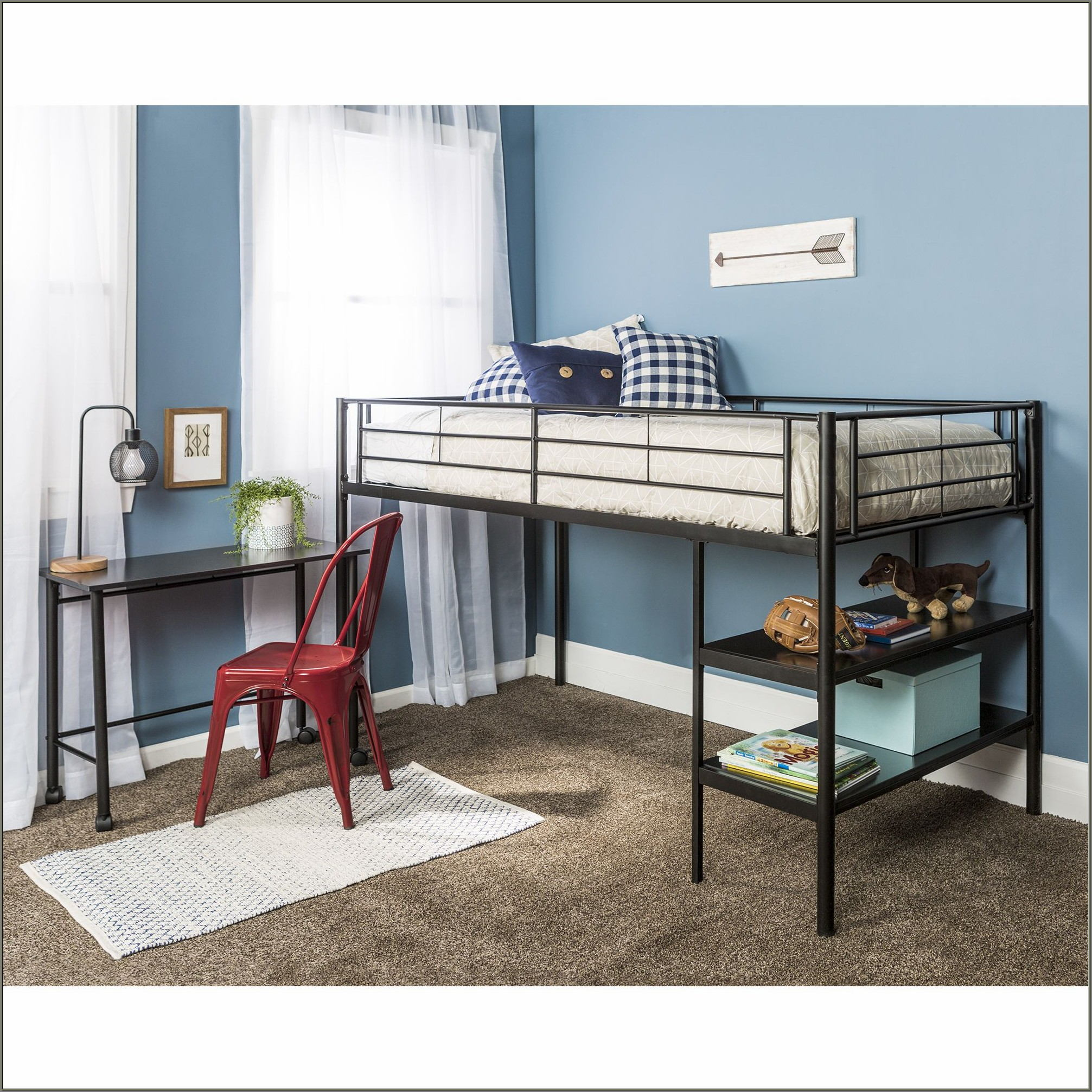 Twin Low Loft Bed With Desk