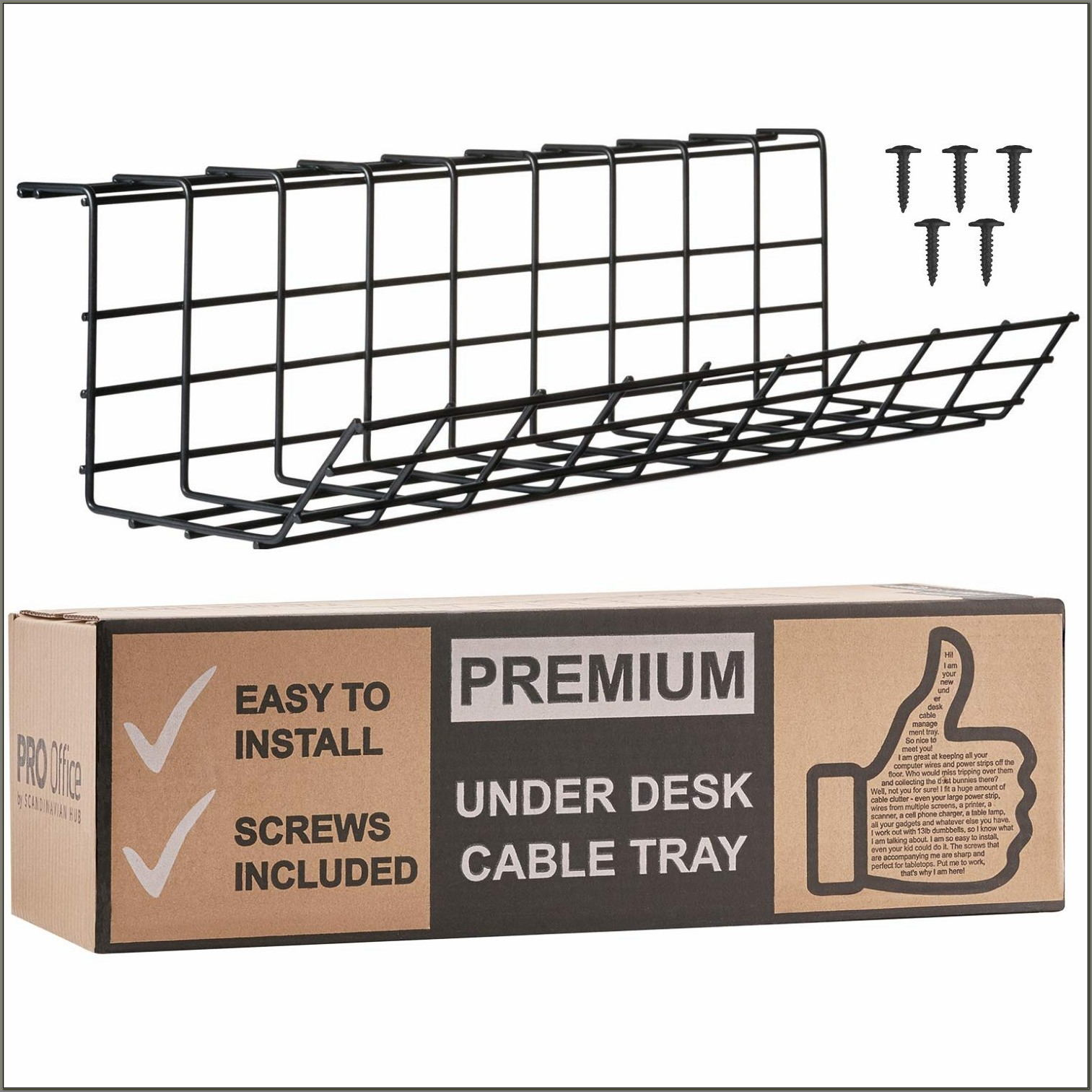 Under Desk Cable Organizer Tray