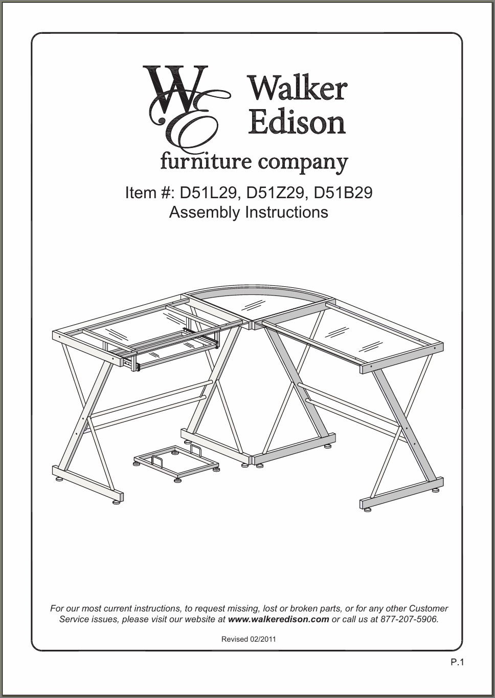 Walker Edison 3 Piece Contemporary Desk Instructions