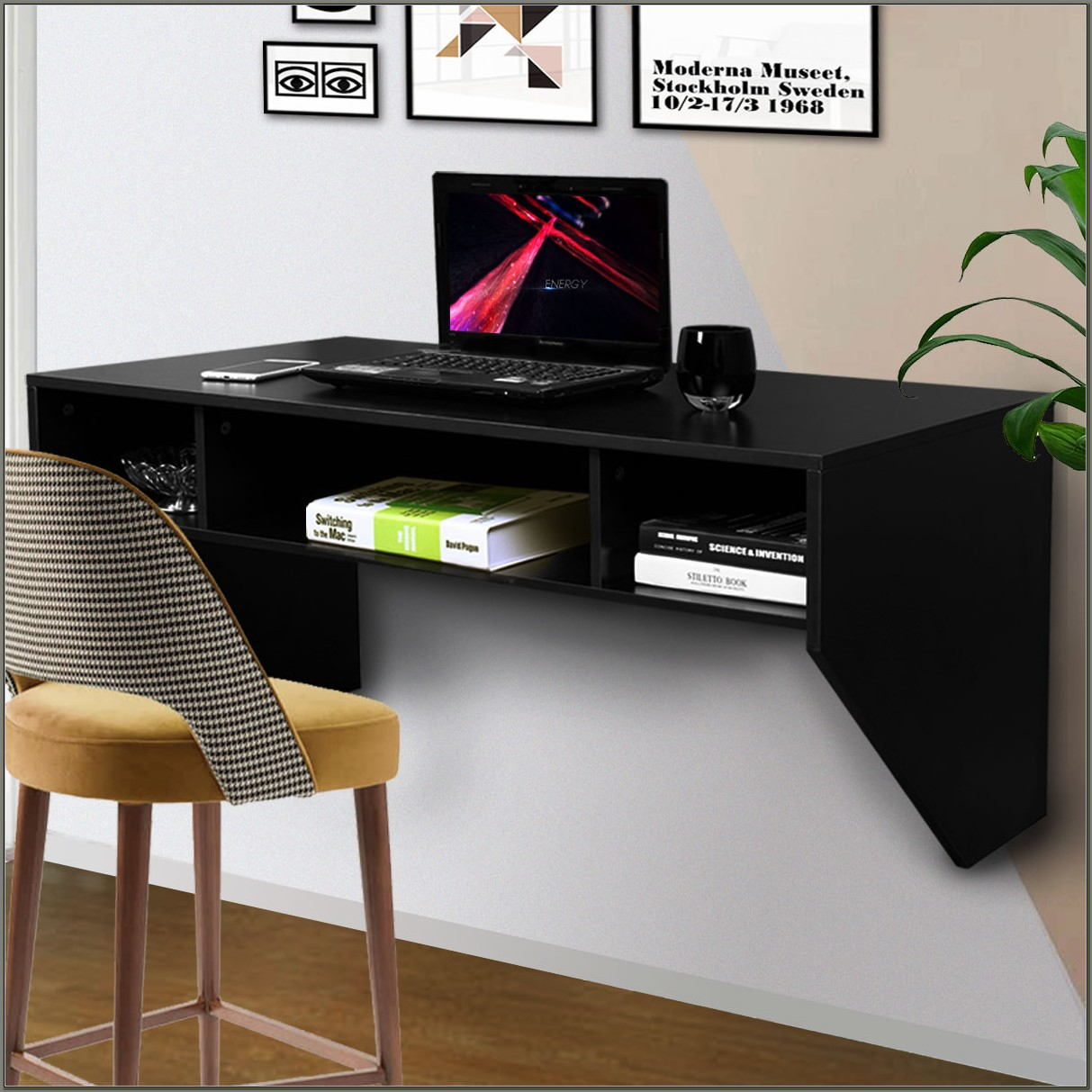 Wall Mounted Floating Desk With Drawers