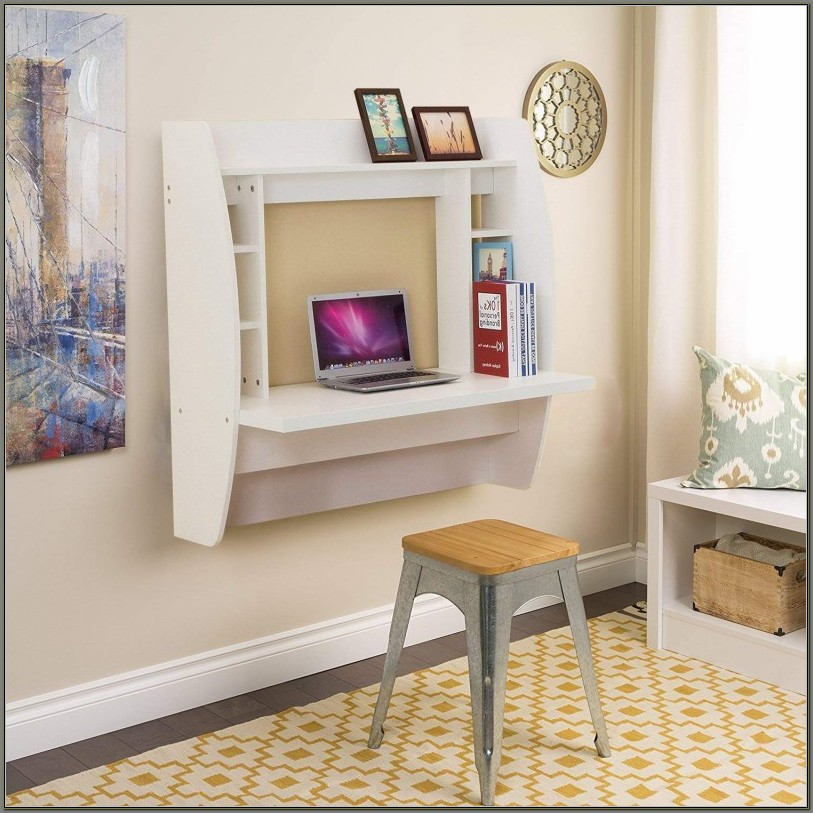 Wall Mounted Floating Desk With Storage White