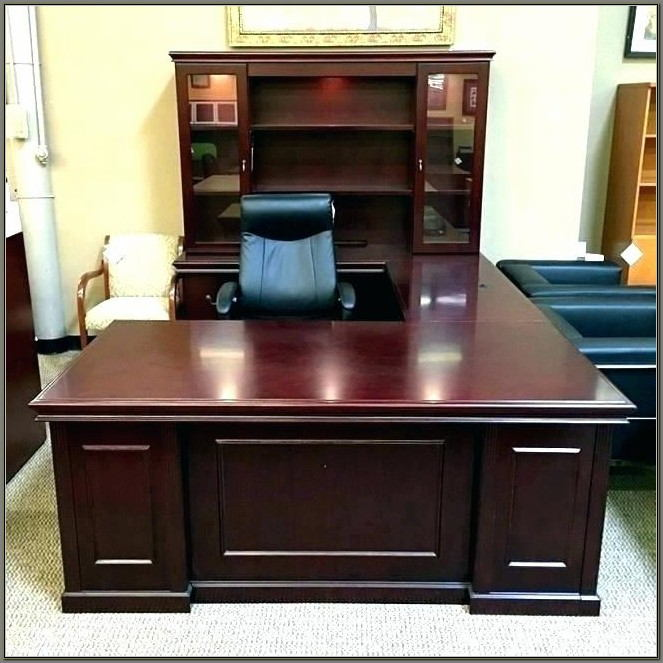 White Executive Desk With Hutch