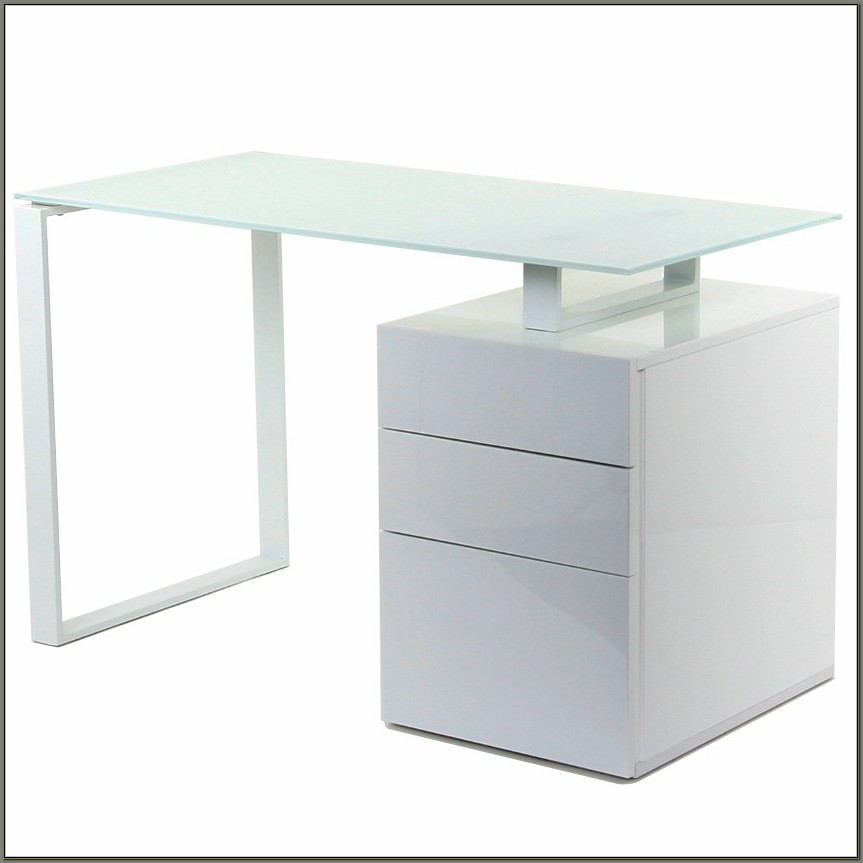 White Modern Desk With Drawers