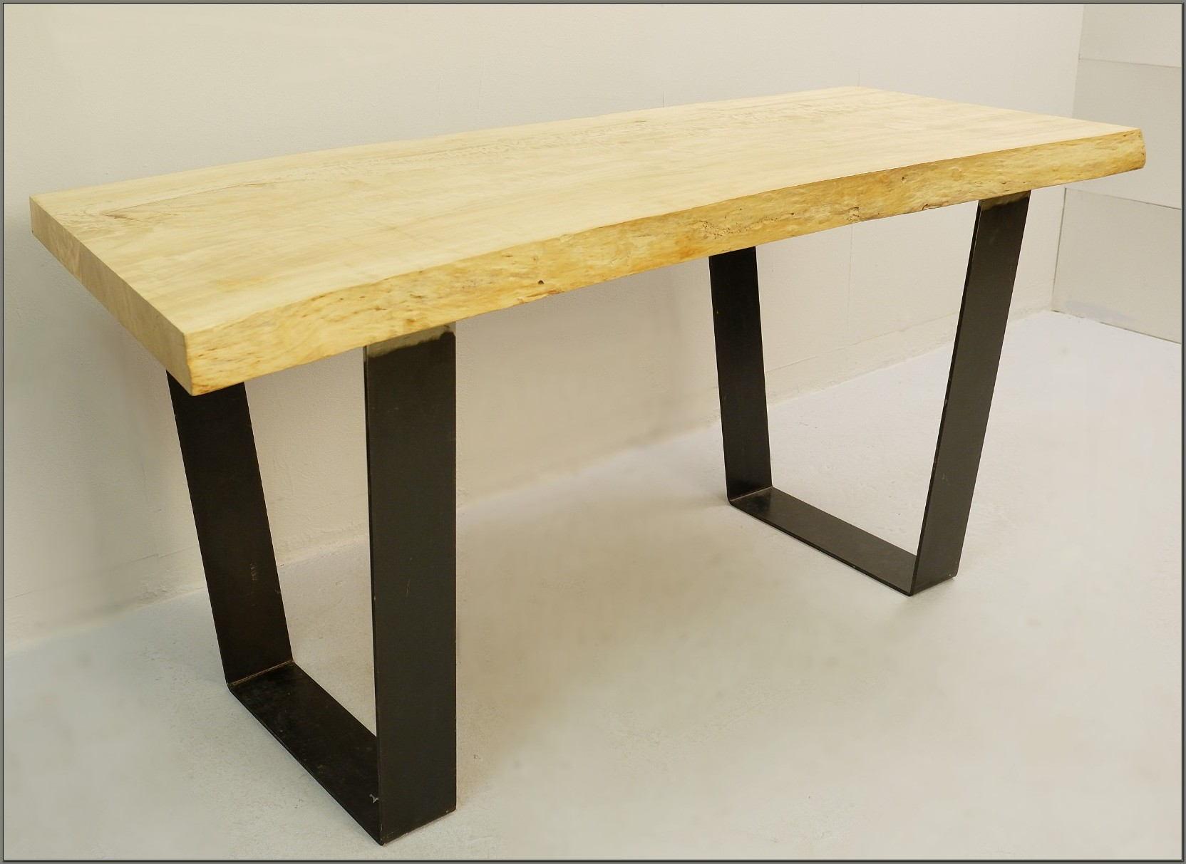Wood Top Desk With Metal Legs