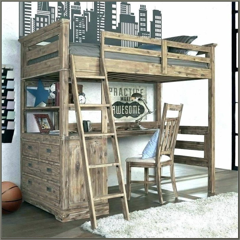 Wooden Bunk Bed Desk Combo