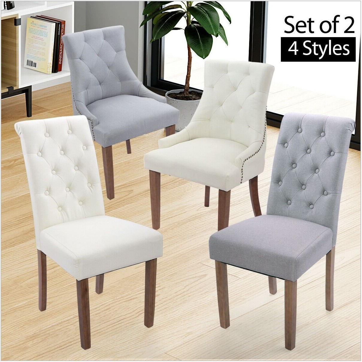 Beige Tufted Dining Room Chairs