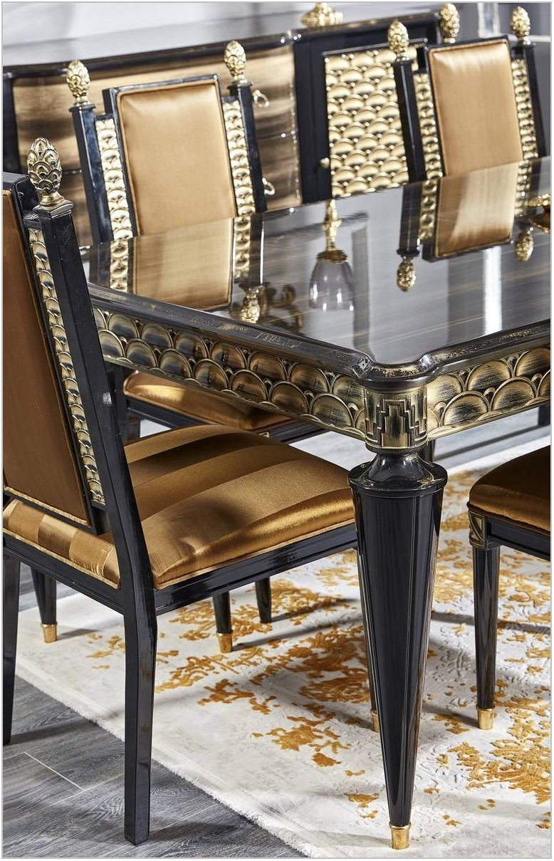 Black And Gold Dining Room Set