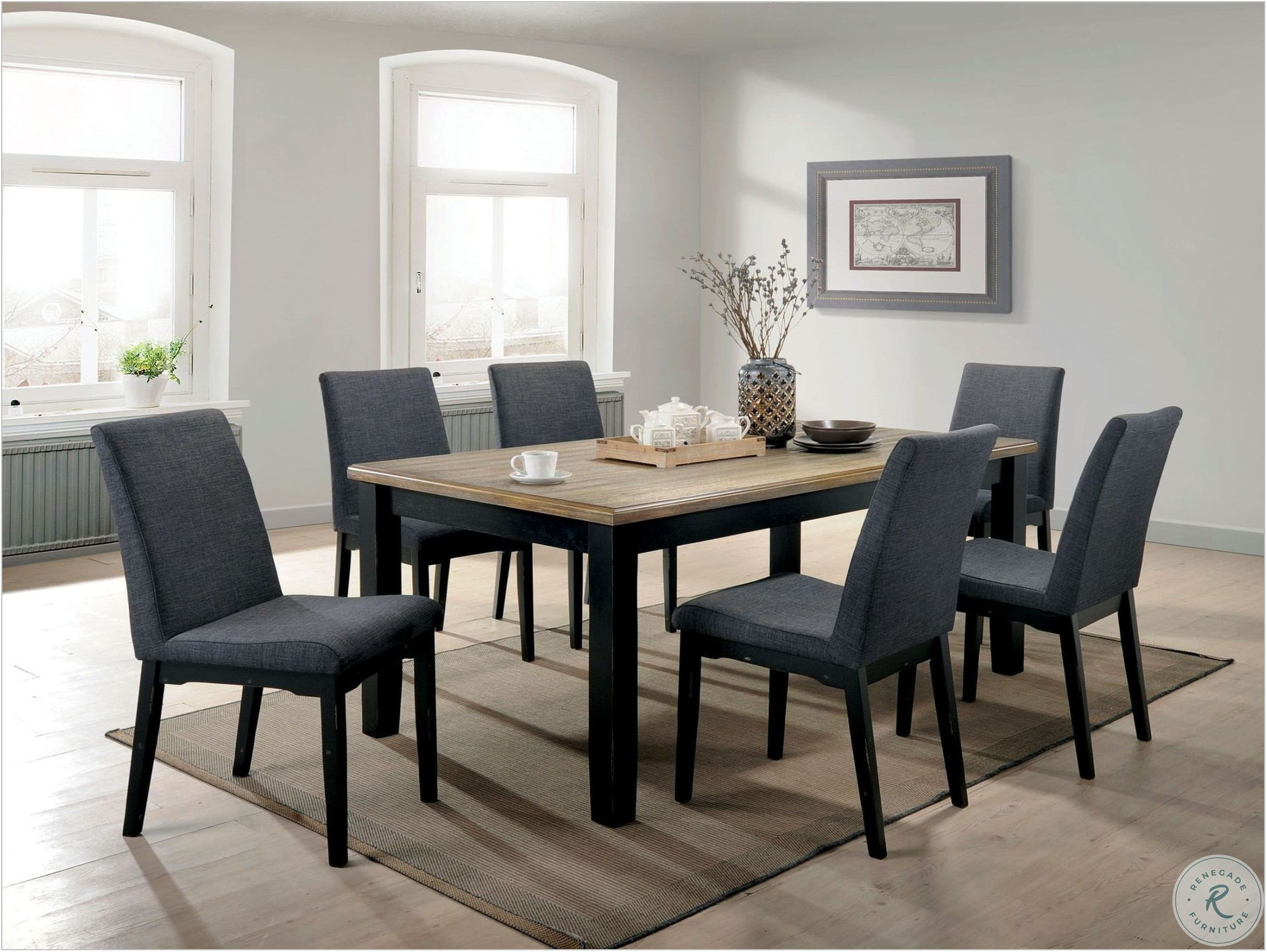 Black And Oak Dining Room Set