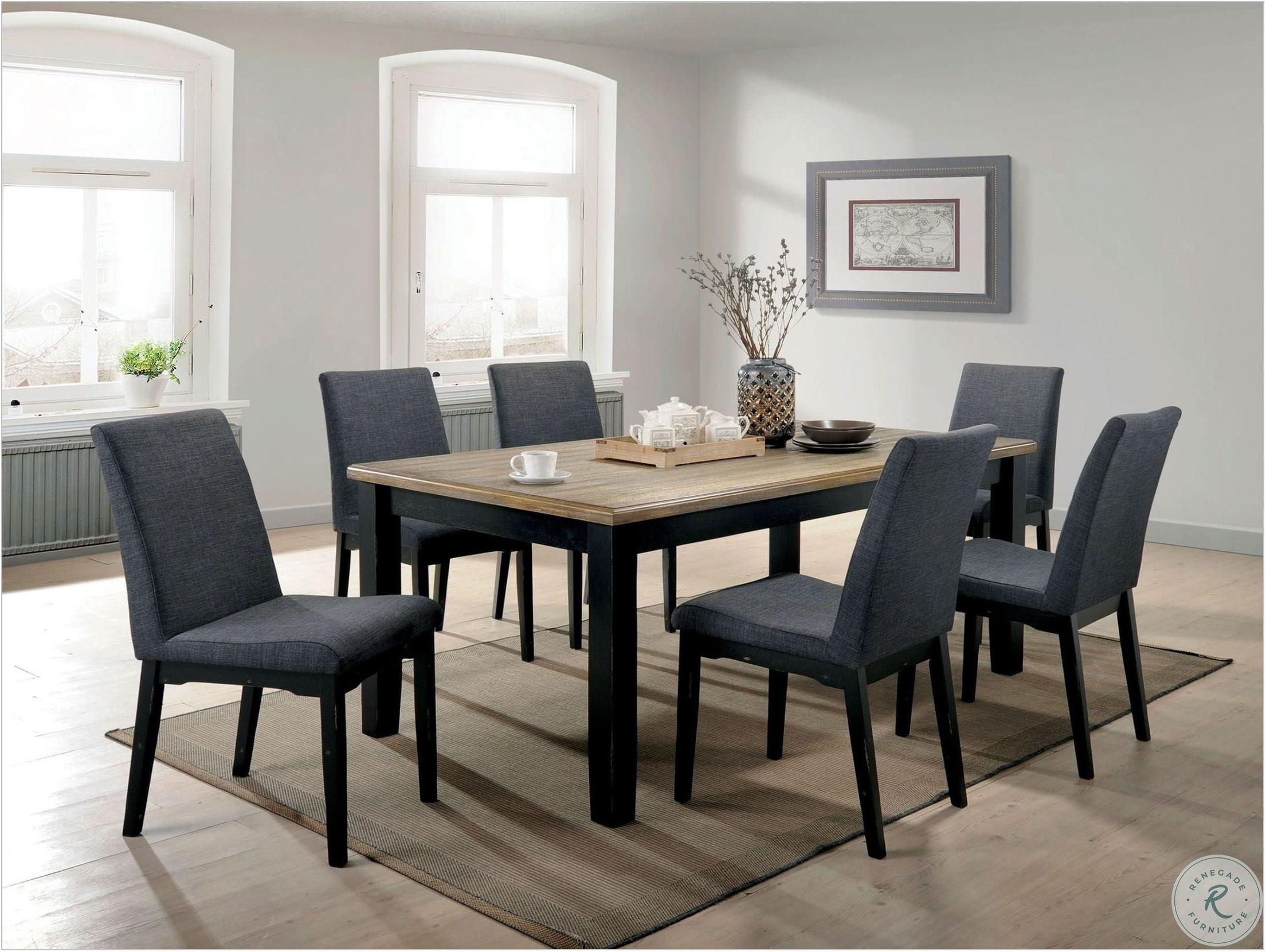 Black And Oak Dining Room Set