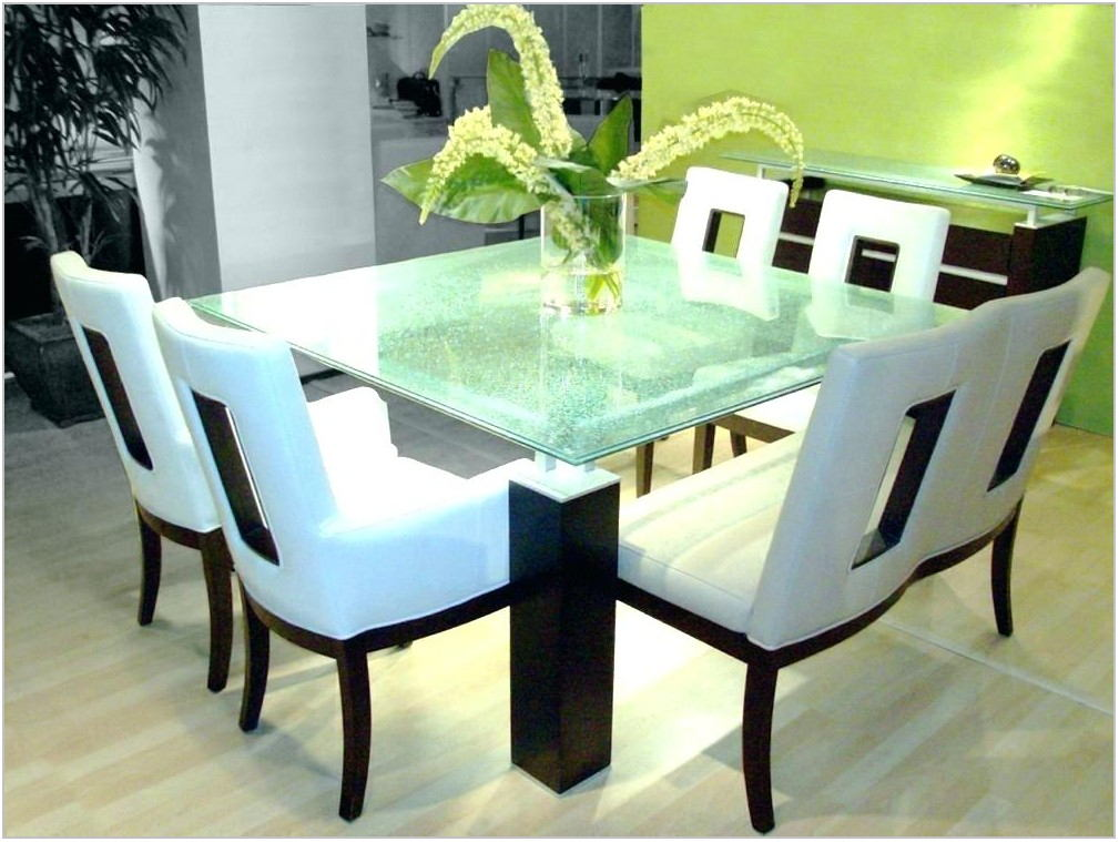 Crackle Glass Dining Room Table