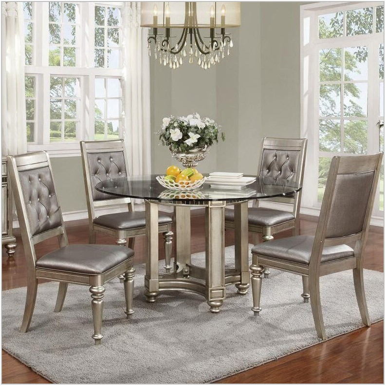 Danette Metallic Platinum Dining Room Set