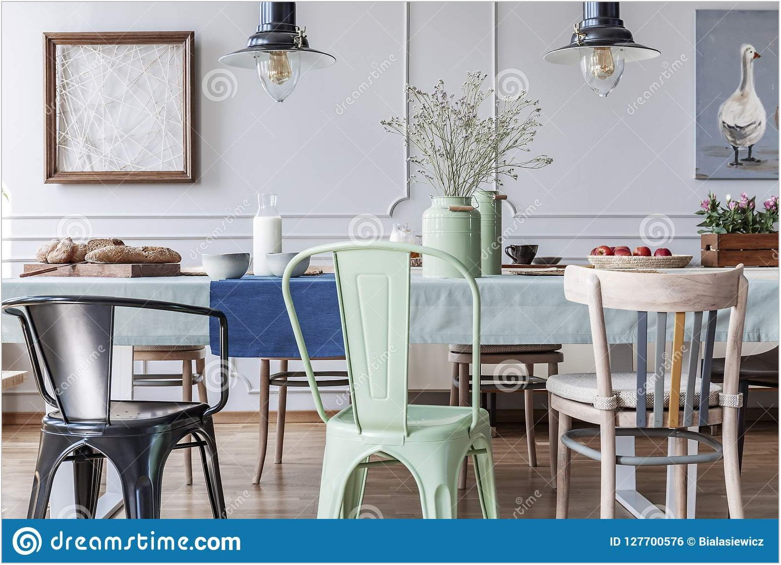 Dining Room Table With Colorful Chairs