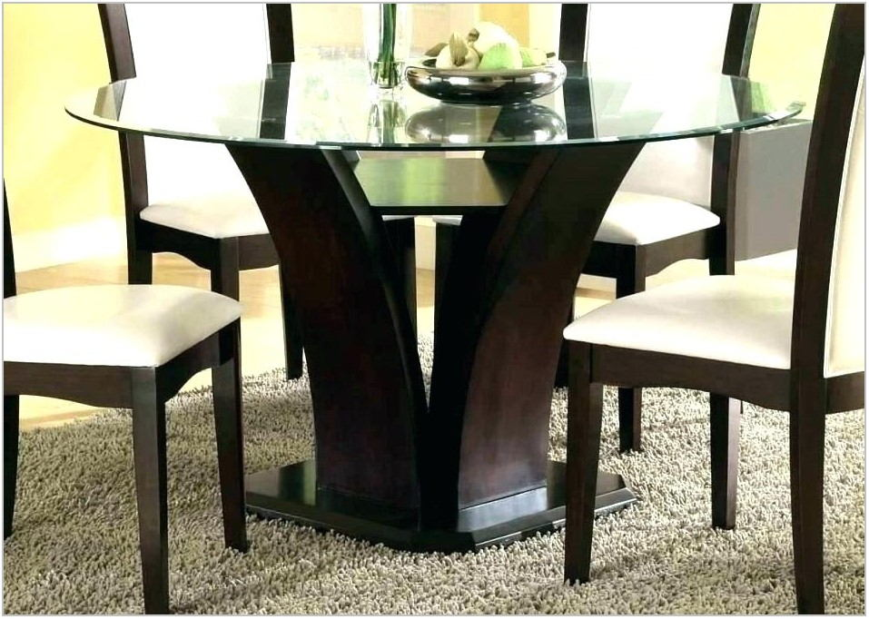 Glass Dining Room Table With Wood Base