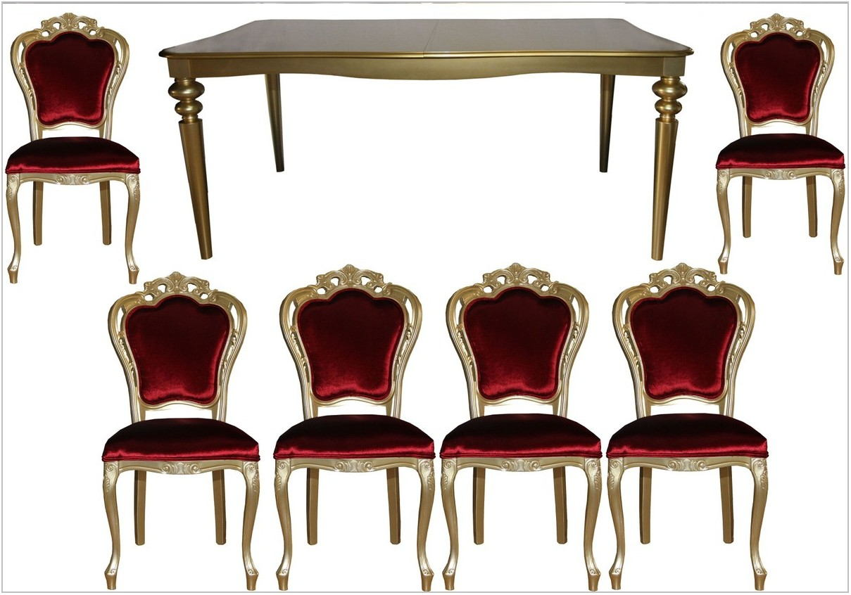 Gold Dining Room Table Set