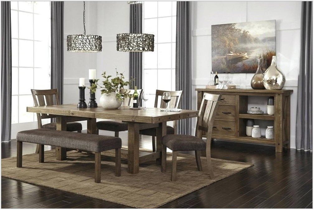 Gray Dining Room Set With Bench