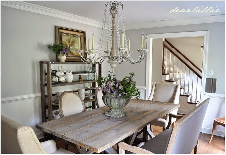 Gray Farmhouse Dining Room Table