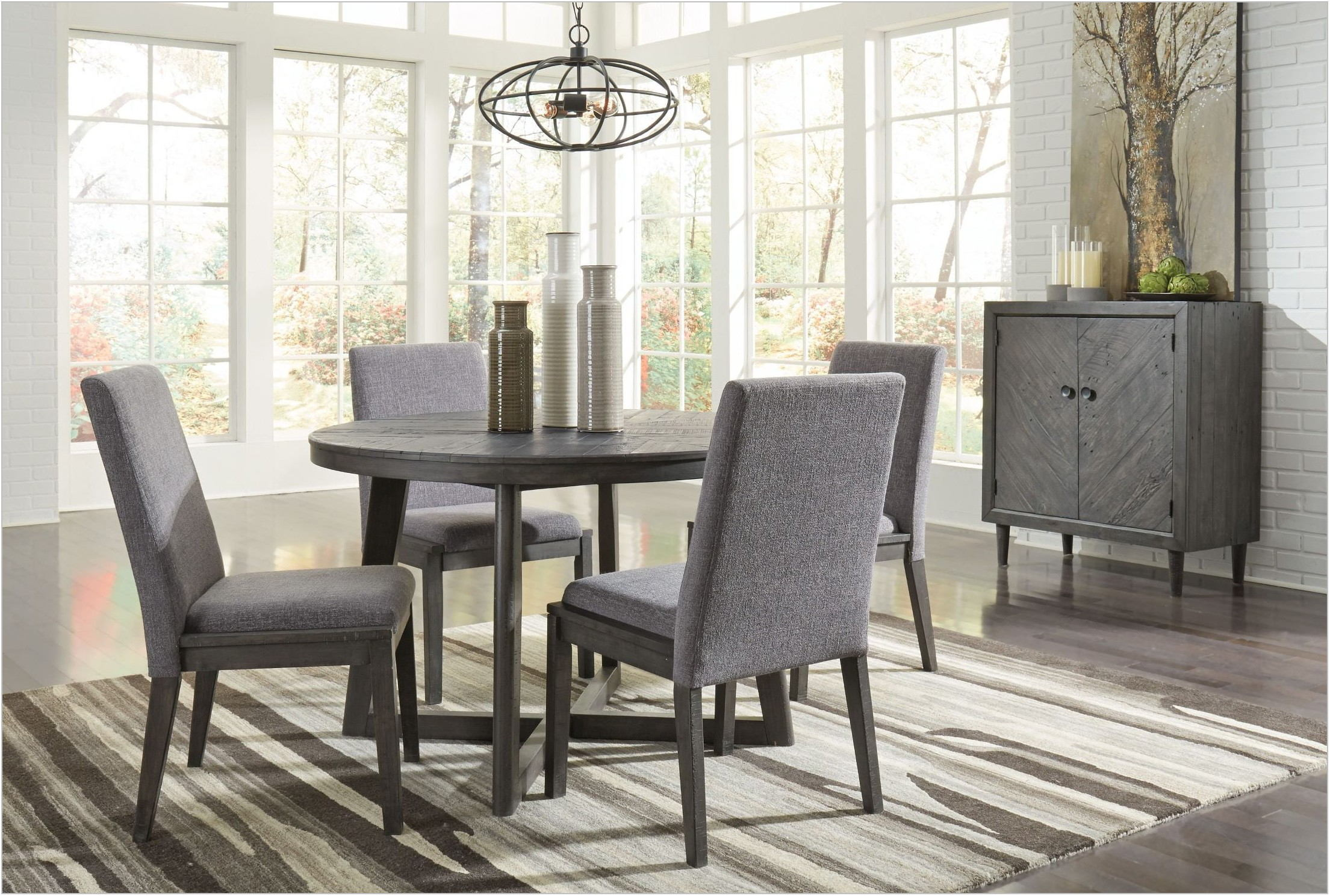 Gray Round Dining Room Set