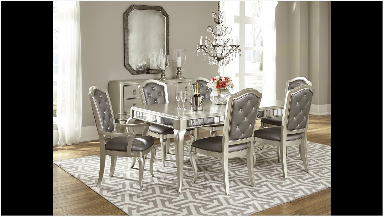 Metallic Platinum Dining Room Set