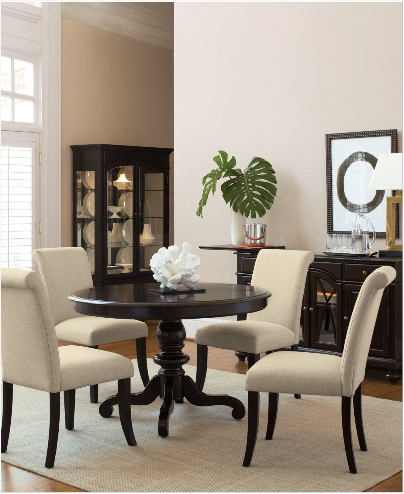 Round Dining Room Set With Upholstered Chairs