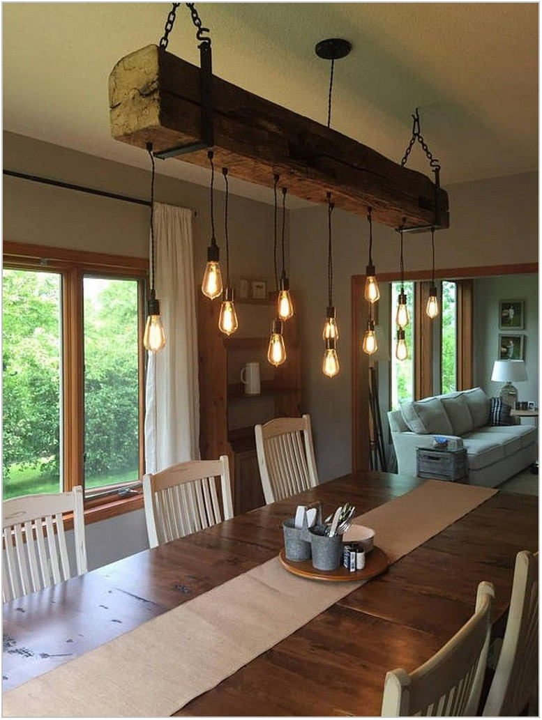 Rustic Chandelier Dining Room