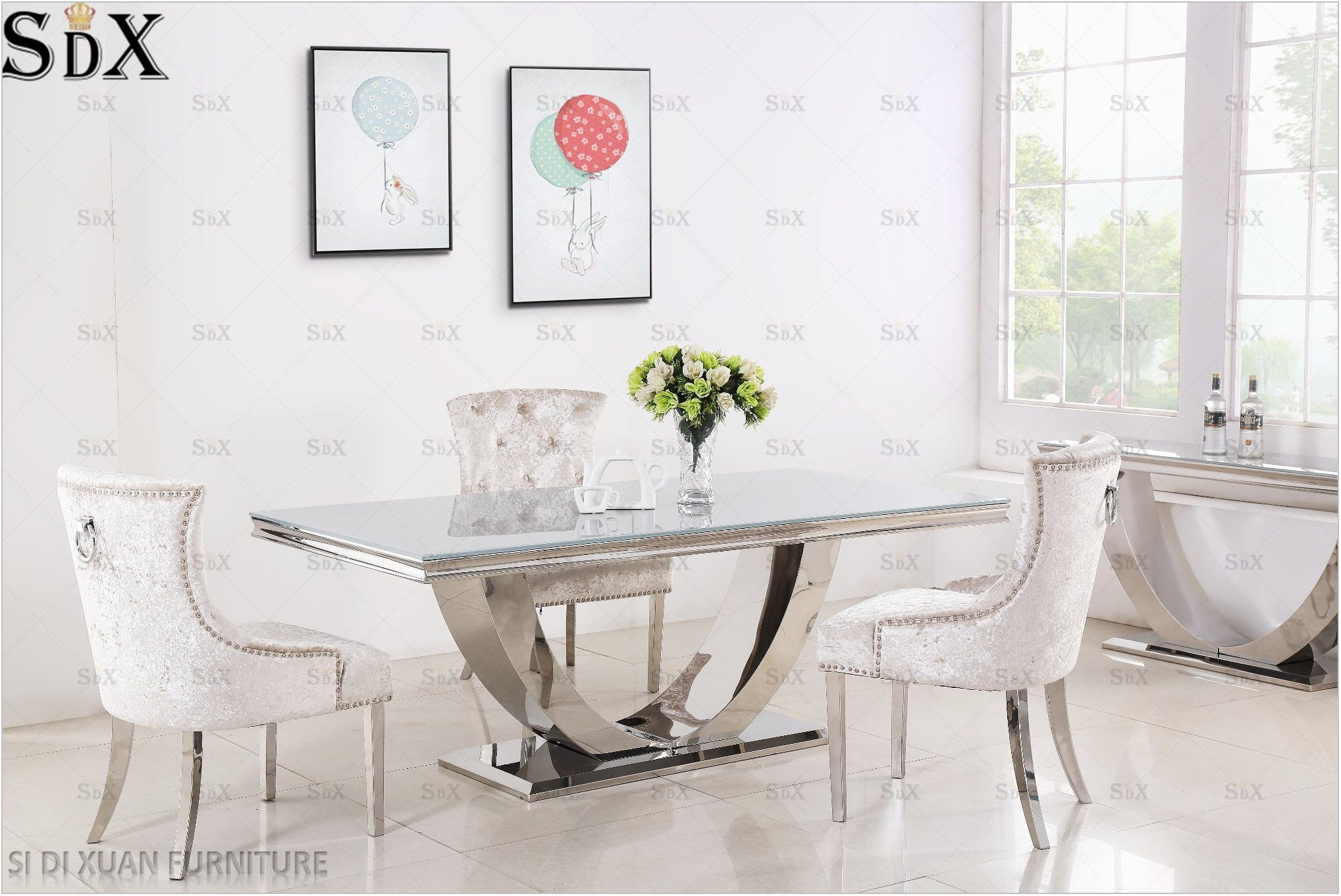 Stainless Steel Top Dining Room Table