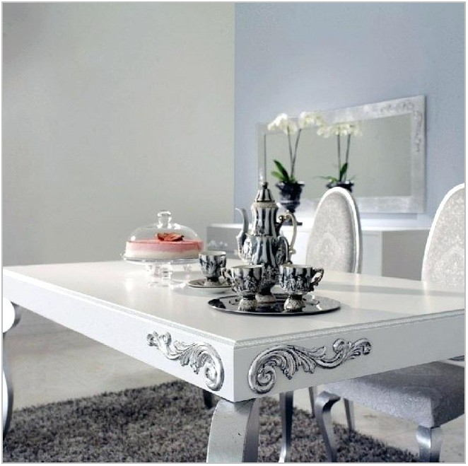 White And Silver Dining Room Set