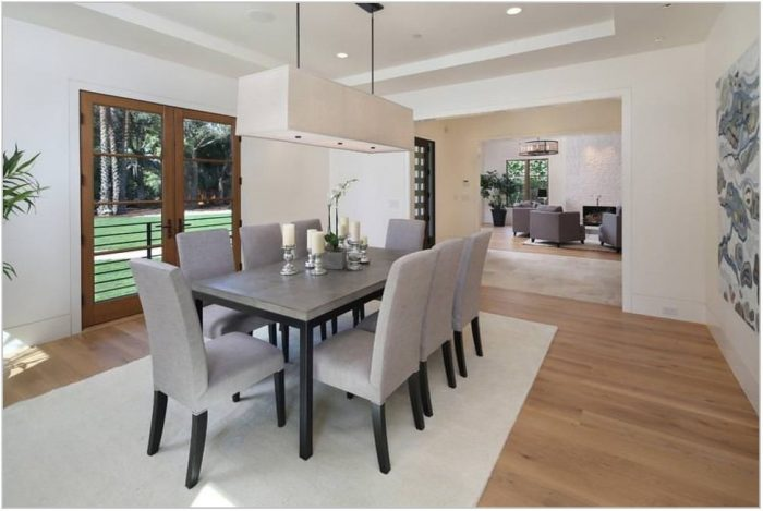 White Chandelier Dining Room
