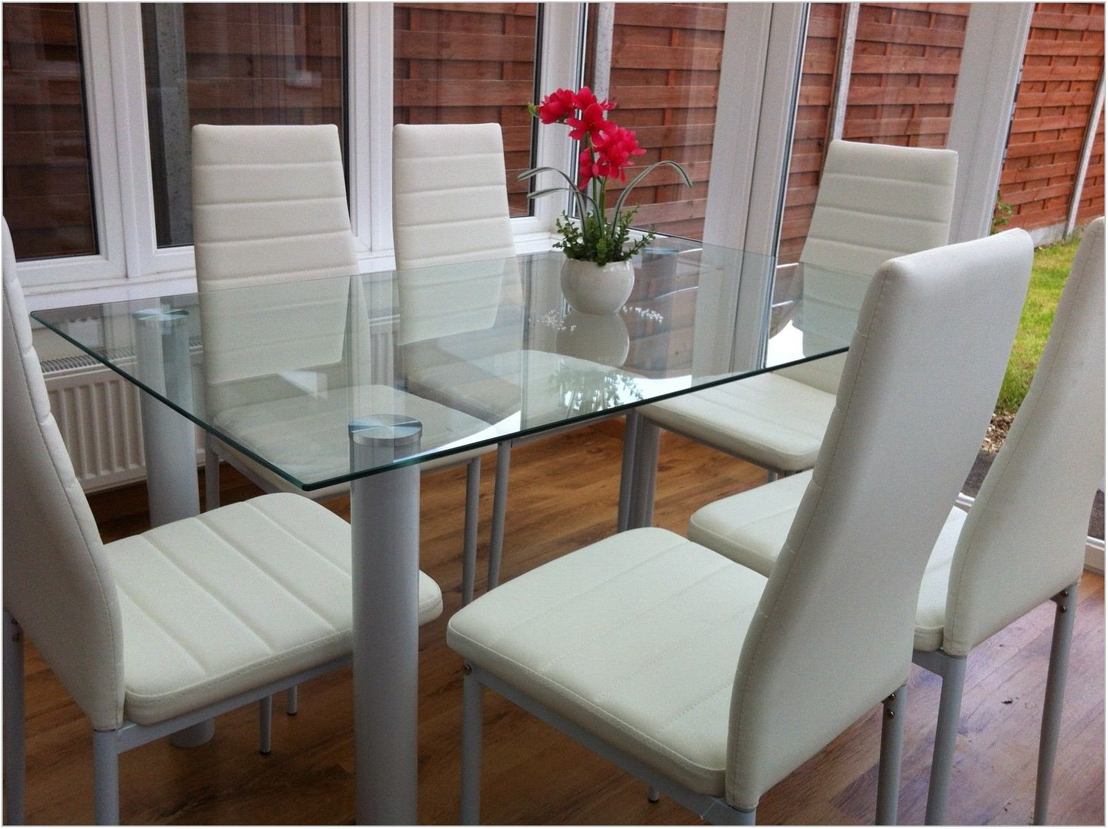 White Glass Dining Room Set