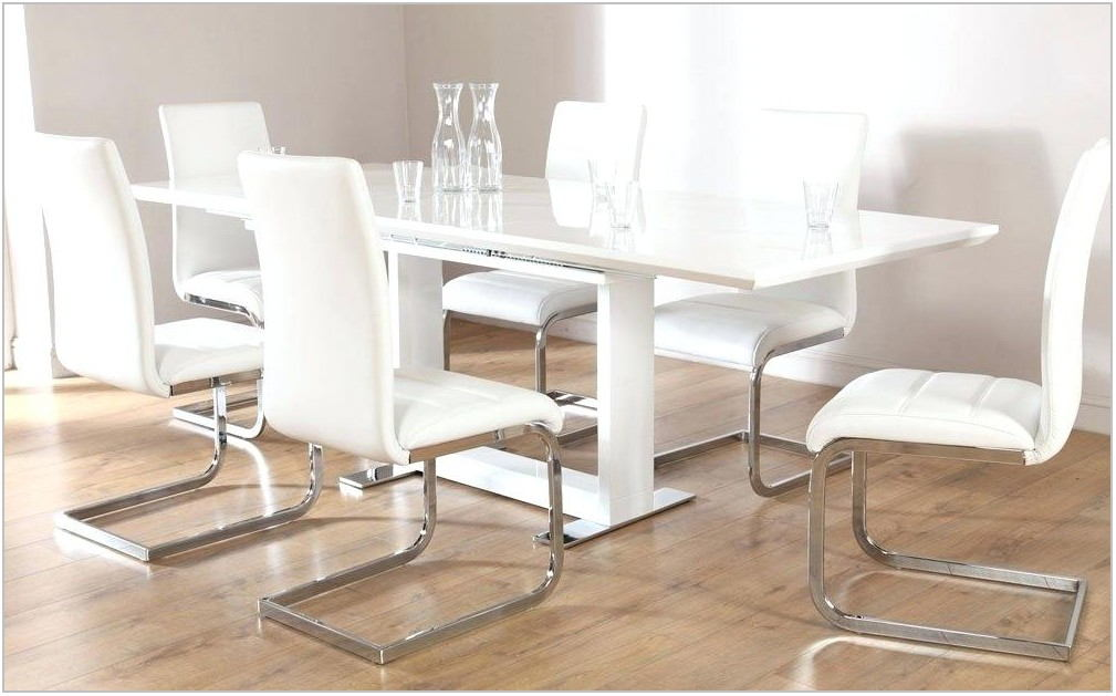 White Gloss Extending Dining Room Table